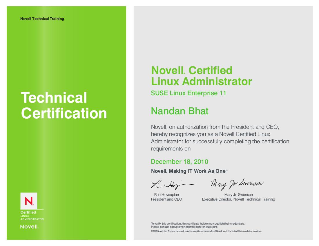 Nandanbhatnclaecr Linux Training Certification